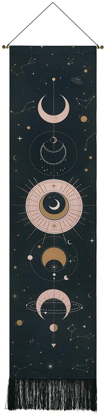 Moon Phase Tapestry Moon Tapestry Wall Hanging Art Bohemian Tapestries Cotton Linen Tapestry for Room (Black, 12.8 x 51.2 inches)