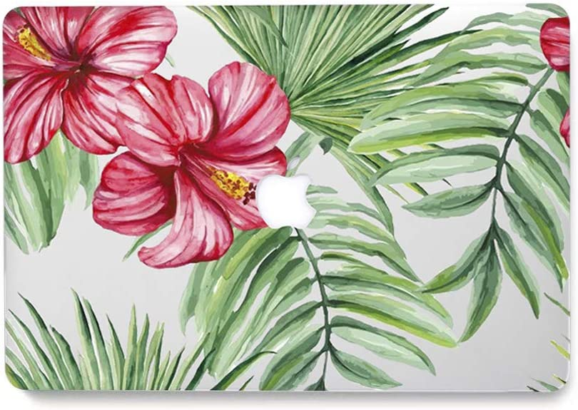 "L2W MacBook Retina Pro 13 Case Model: A1502/A1425 Protective Hard Case, Plastic Rubber Coated Shell for Mac Pro 13"" with Retina Display NOT CD-ROM (2012-2015 Version) - Tropical Palms Leaves 10"