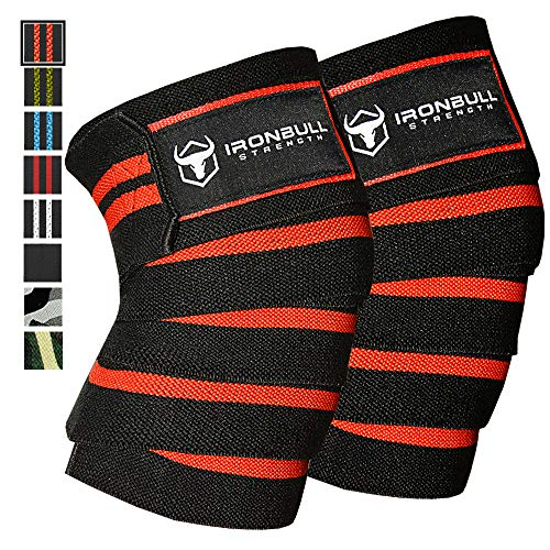Iron Bull Strength Knee Wraps (1 Pair) - 80 Elastic Knee and Elbow Support & Compression - for Weightlifting, Powerlifting, Fitness, Crossfit WODs & Gym Workout - Knee Straps for Squats (Black/Red)