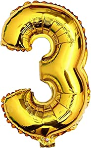Glanzzeit 16 Inch Gold Balloons Decor Letters A to Z Numbers 0 to 9 for Wedding Prom Birthday Party (Number 3)