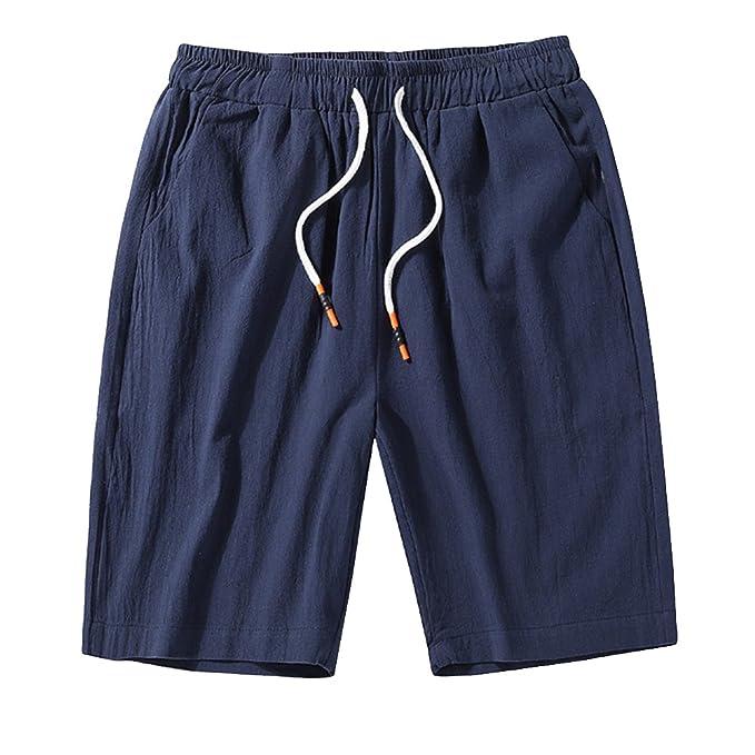 Hombre Chino Pantalones Cortos De Playa Cargo Bermudas Deportivos Chinos Pantalon Lino Cintura Elástica Shorts Tallas Grandes eiD6I