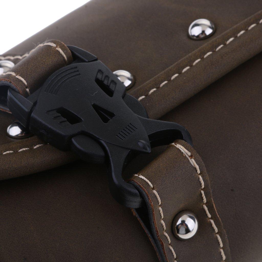 Shiwaki 1 Pieza De Cuero Moto Equipaje Parabrisas Kit De Herramientas Montar//Bolsa De Almacenamiento Marr/ón