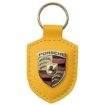 Porsche Original llavero amarillo piel con soporte de metal ...