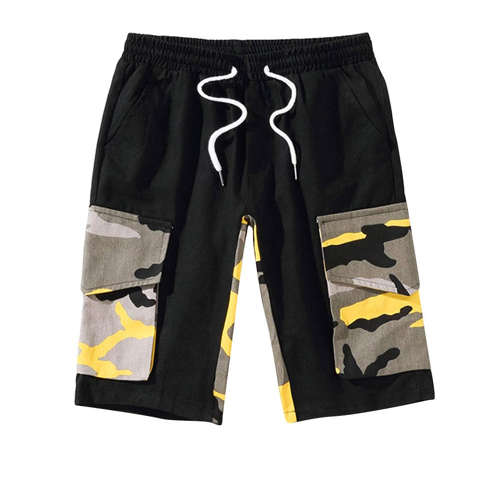 ANJUNIE Men's Leisure Camouflage Tech Graphic Shorts Overalls Multi-Pocket Dry Training Pant(2-Yellow,XXL) by ANJUNIE