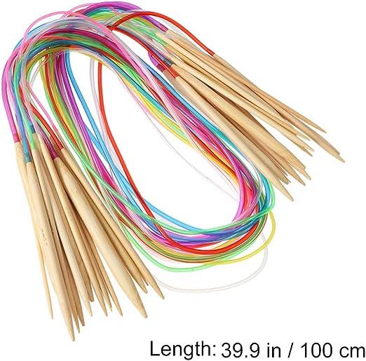Length 60cm Healifty 18 Pairs Knitting Needles Set Carbonized Bamboo Circular Knitting Tube