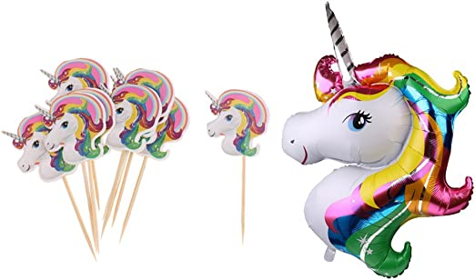 D DOLITY balón Aluminio de Unicornio Arco Iris y Picks Pastel ...