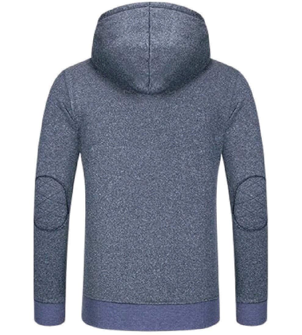 VITryst-Men Warm Thick Hit Color Zipper Oversize Jacket Sweatshirt
