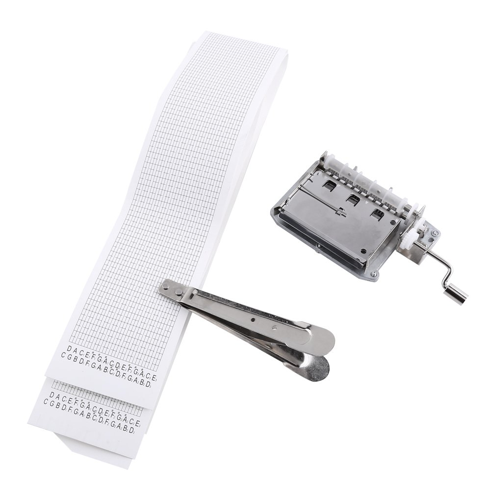 30-Note Music Box Musical Movement,Hand Crank Tape Music Box Movement Part with Puncher and 3 Strips DIY Your Songs GLOGLOW