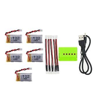 OJAX 5pcs 3.7V 260mAh 30C Lipo Battery 2.0 Conectar y X5 cargador ...