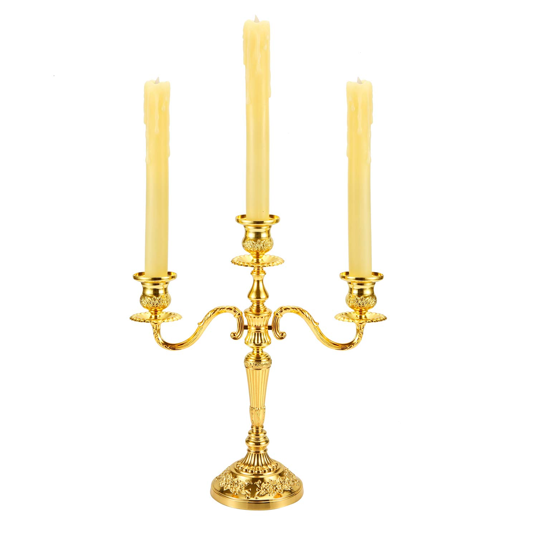 YOGAMT 3/Bracci portacandele in Metallo Stile Barocco Wedding Candle Stick per Decorazione per Festa di Natale e Famiglia Colore: Oro