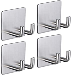 Adhesive Razor Hook for Shower, Cabinadd Stainless Steel Double Prong Hook Self Adhesive Wall Hook Hanger for Keys, Kitchen Utensils, Plugs, Coats (4 Pack)