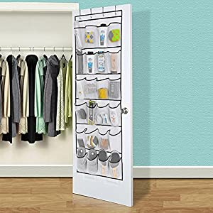 "24 Large Mesh Storage Pockets Over the Door Shoe Organizer with 4 Hooks ,White (59 1/2""L x 22 1/2"" W) by Hippih"