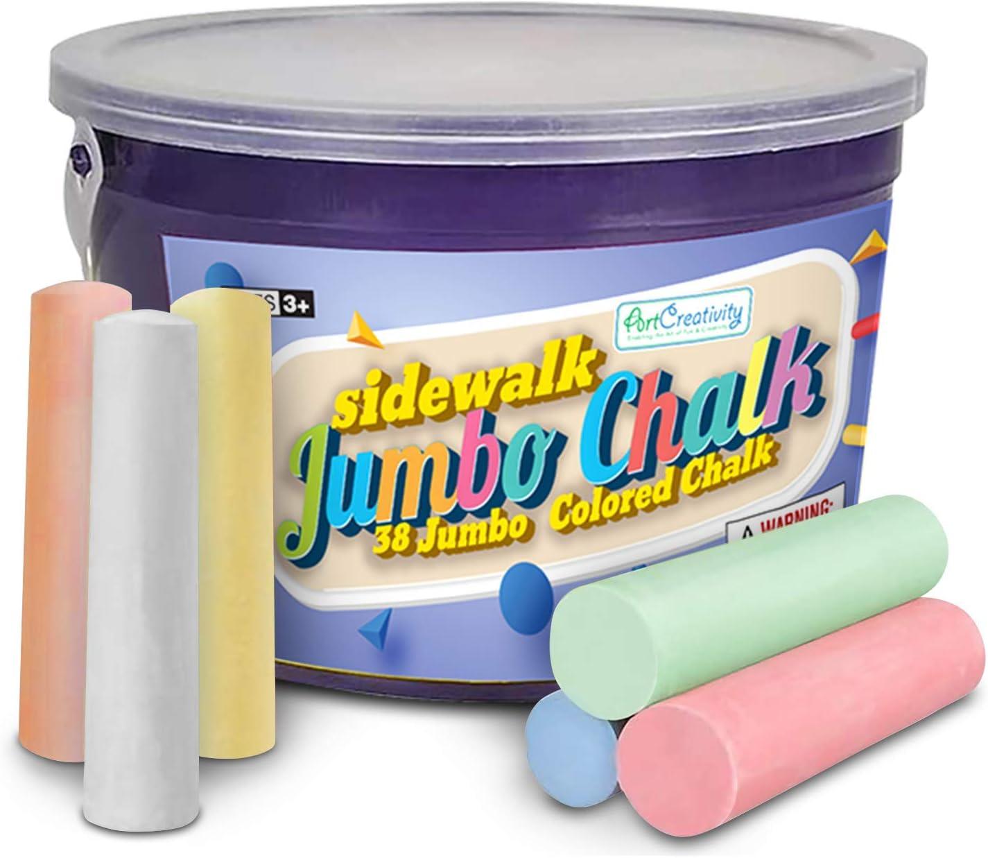 Kids Jumbo Pavement Chalks Large Hopscotch Chalk Street Chalks Fun Art Game Coloured Anti Dust Assorted Sidewalk Set Water-soluble Safe Pens Chalk Dinapy 12 Pcs Chalks