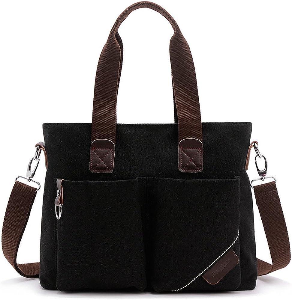 KARRESLY Women' Canvas Shoulder Bag Top Handle Tote Multi-pocket Handbag Purse