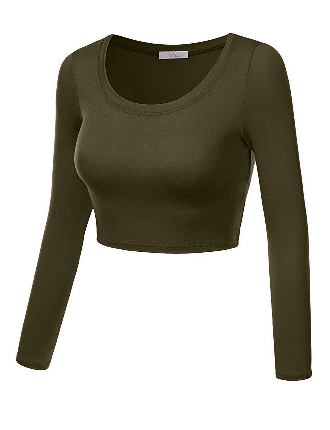 f6ff992ce3228c Simlu Womens Crop Top Round Neck Basic Long Sleeve Crop Top with Stretch  Reg and Plus Size - USA (Size Large