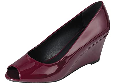Women's Peep Toe Slip On Wedge Pump8.5 B(M) USWine