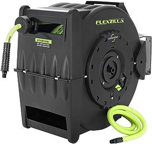 Flexzilla Levelwind Retractable Air Hose Reel, 1/2 in. x 50 ft, Heavy Duty, Lightweight, Hybrid, ZillaGreen - L8335FZ