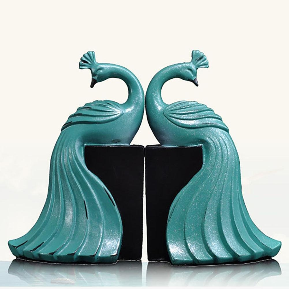 LPY-Set of 2 Bookends Resin Blue Peacock Handicrafts, Book Ends for Office or Study Room Home Shelf Decorative