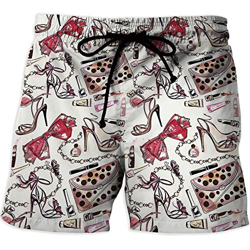 MOOCOM Men's Fitted Casual Shorts and Quick-Drying Sports Pants,Fashion House DecorPrinted Quick-Drying Swimming Female Shoes Lipstic Perfume Accessory Fancy Items for Beauty Pattern Image from MOOCOM
