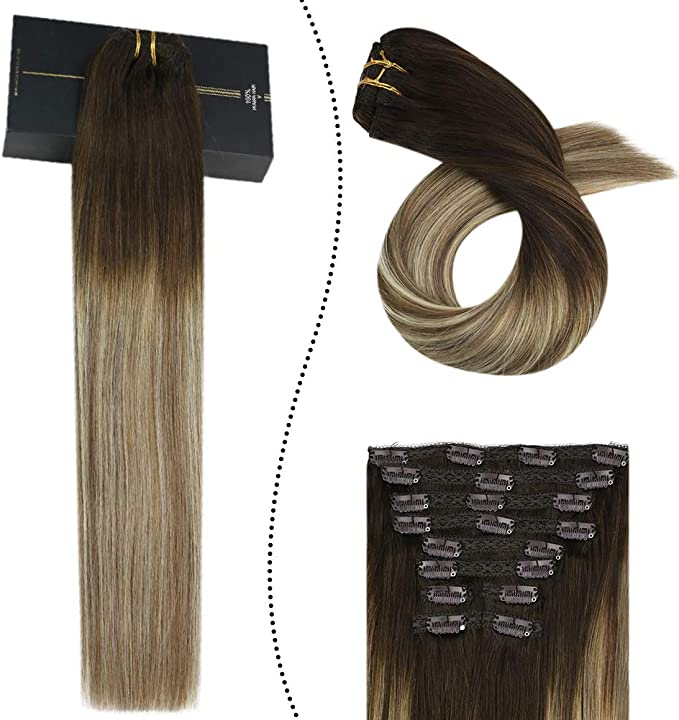 Ugeat Balayage Extension de Cabello Clip 10 Pcs 22 Pulgadas ...