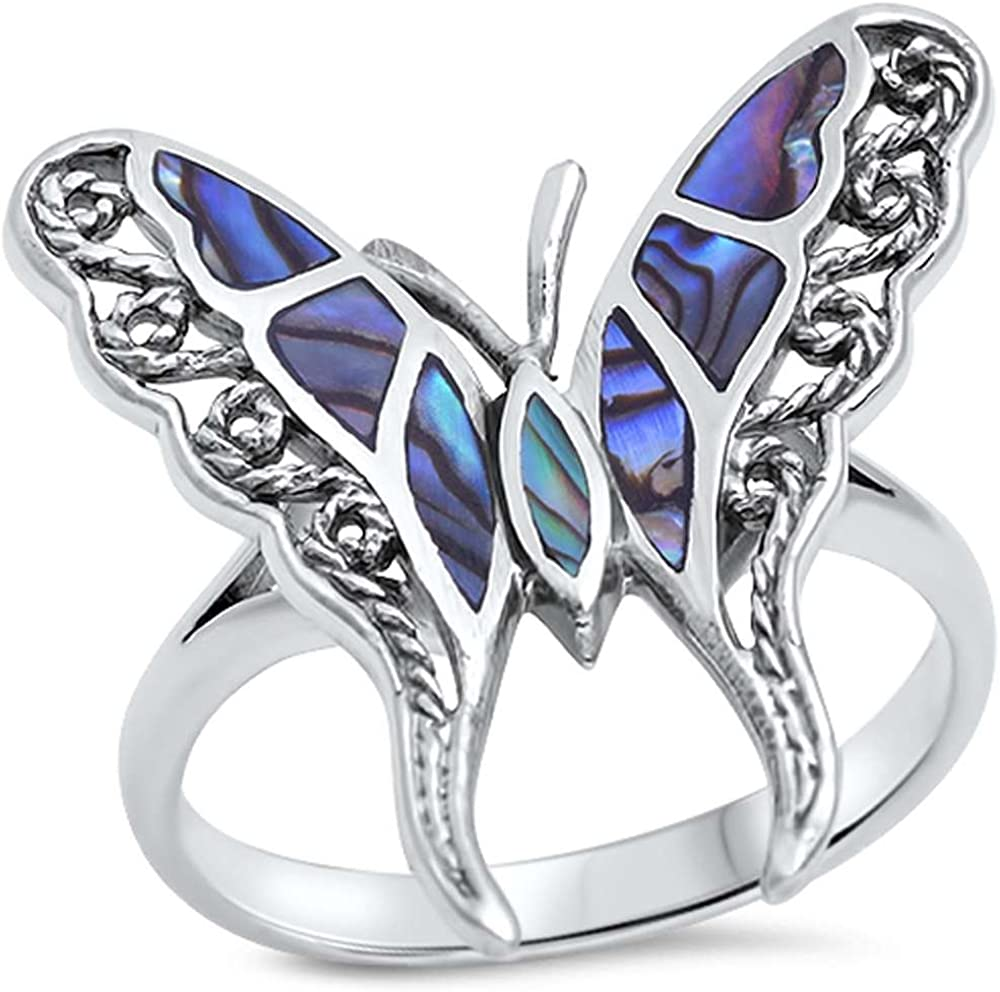 Sterling Silver Abalone Ring-Size 6 12