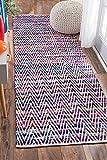 nuLOOM Hand Woven Candy Striped Chevron Runner Area Rugs, 2' 6'' x 8', Indigo