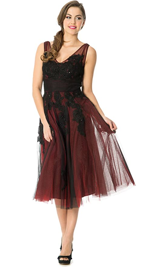 Amazon.com: 50s Tea-Length Prom Swing Dress: Clothing