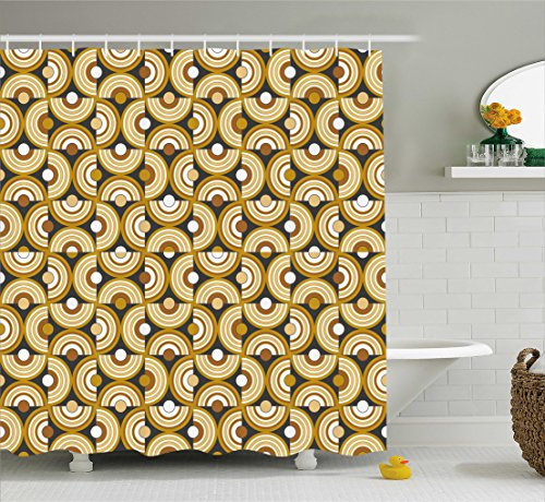 (Ambesonne Retro Shower Curtain, Funky Abstract Motif Half Circular Inner Round Forms Spiral Hoops Artwork, Fabric Bathroom Decor Set with Hooks, 75 Inches Long, Grey Marigold Cinnamon)