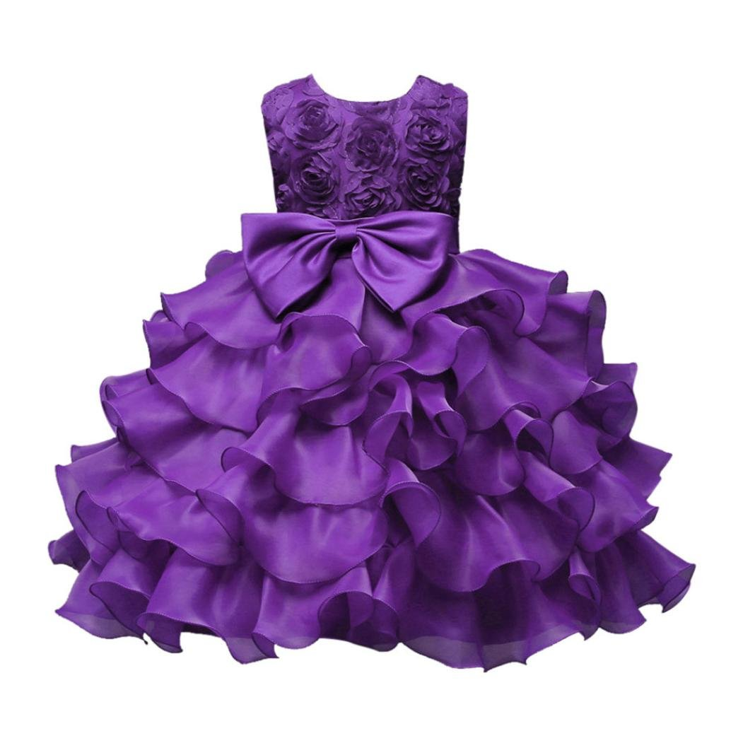 Elevin(TM) Flower Baby Girl Princess Bridesmaid Pageant Gown Party Wedding Dress 0-12T (24M, A Purple)