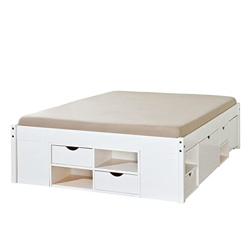 Bett weiß 180x200  Links 20900180 Bett 180x200 cm Doppelbett Jugendbett Stauraumbett ...