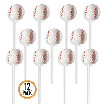 Prextex Baseball Lollipops - Kids Sports Ball Suckers for Birthday, Sports Event or Baseball Party Favor - Pack of 12 (1 Dozen)