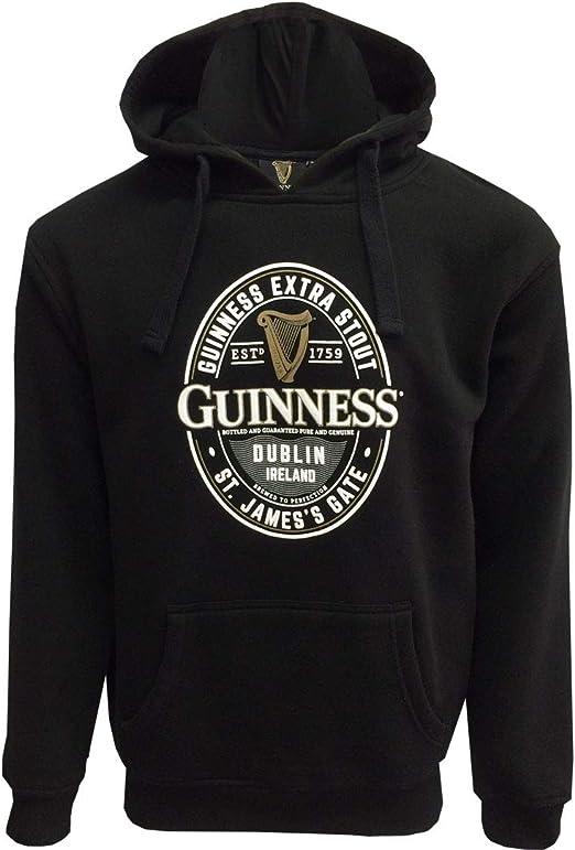 James Gate Manica Lunga Uomo Felpa con Cappuccio Nero Guinness Label St