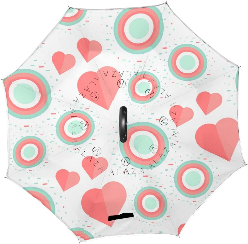 AHOMY Inverted Reverse Umbrella Heart Geometric Figure Round Windproof for Car Rain Outdoor