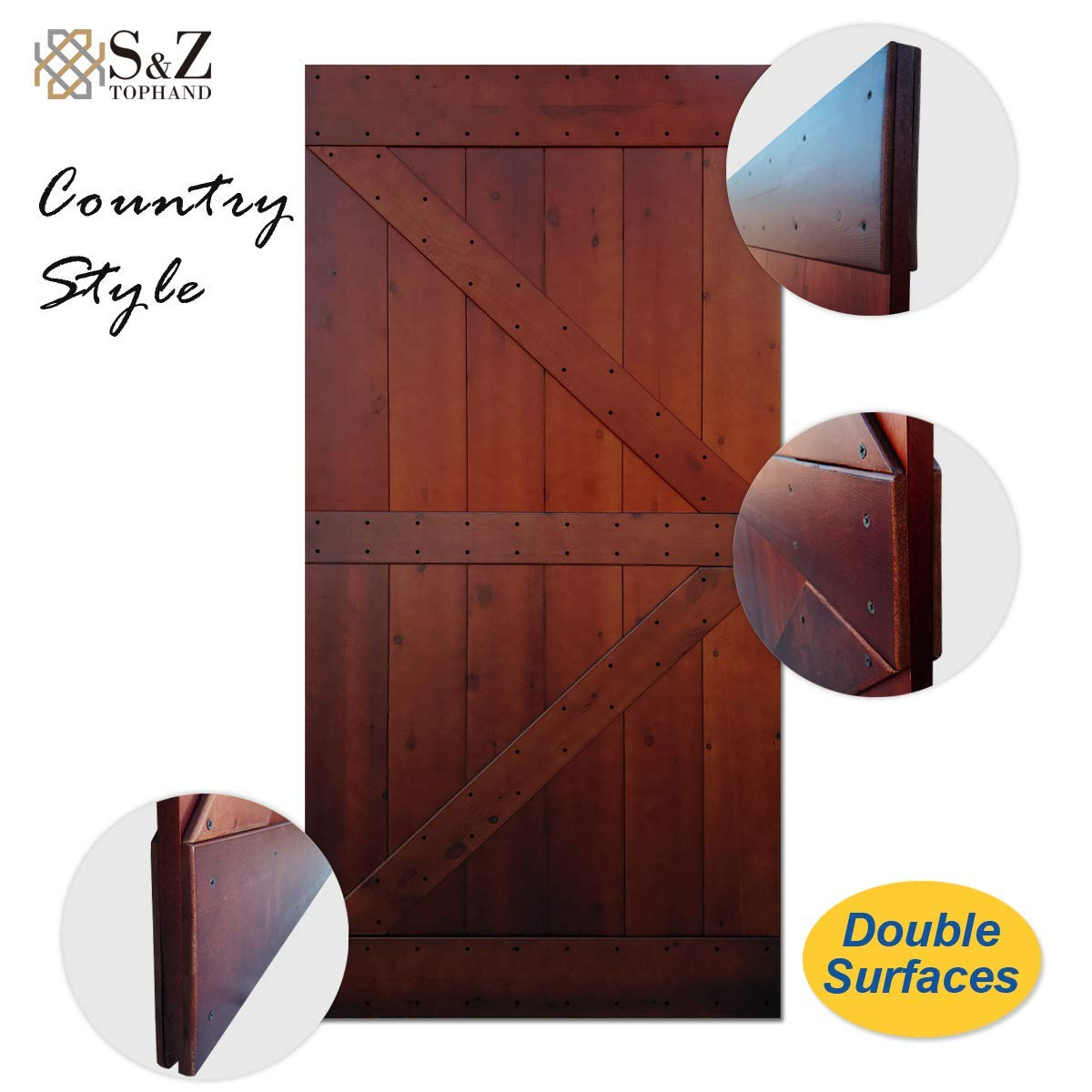 Coffee x 84 in British Brace Knotty Pine Barn Door//Sliding Door//Double Surfaces//A Simple Assembly is Required. 42, Coffee Finished Antique Art S/&Z TOPHAND 42 in