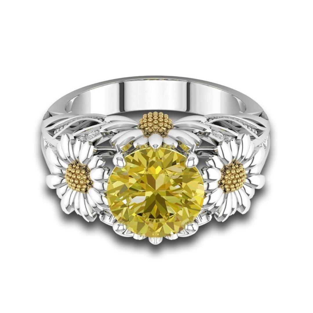 Anillos de bisutería baratos, Sannysis Anillo de diamantes de girasol mujer de compromiso anillos acero inoxidable anillos de cristal de princesa - Bonita ...