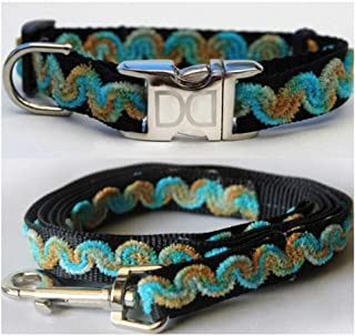 "product image for Diva-Dog 'Waves Beaches' Custom Small Dog 5/8"" Wide Dog Collar with Plain or Engraved Buckle, Matching Leash Available - Teacup, XS/S"