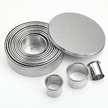 travet redondo de acero inoxidable para galletas, set círculo Fondant Moldes para masa de galletas: Amazon.es: Hogar