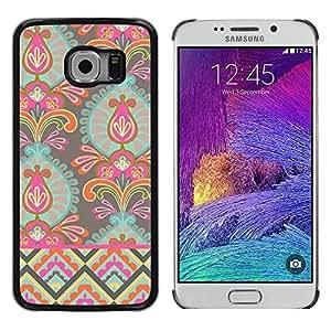 iKiki Tech / Estuche rígido - Wallpaper Flowers Art Bright Colors - Samsung Galaxy S6 EDGE SM-G925