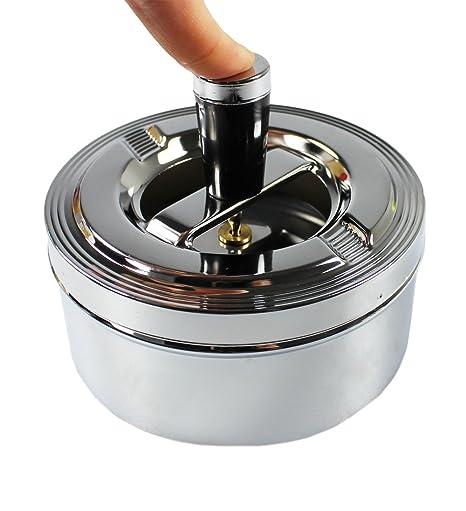 com-four® Cenicero de metal cerrado para uso en interiores y exteriores con función giratoria (La función de rotación): Amazon.es: Hogar