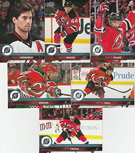 2017-18 Upper Deck Hockey Series 1 New Jersey Devils Team Set of 6 Cards: Adam Henrique(#114), Miles Wood(#115), Pavel Zacha(#116), Taylor Hall(#117), Travis Zajac(#118), Andy Greene(#119)