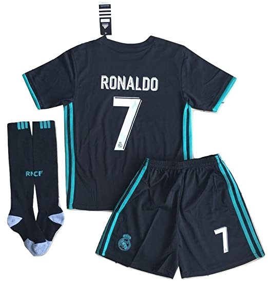 578c18fb7 Amazon.com  VVBSoccerStore New  7 Ronaldo 2017 2018 Real Madrid Away Jersey  Shorts   Socks For Kids Youths (7-8 Years Old)  Clothing