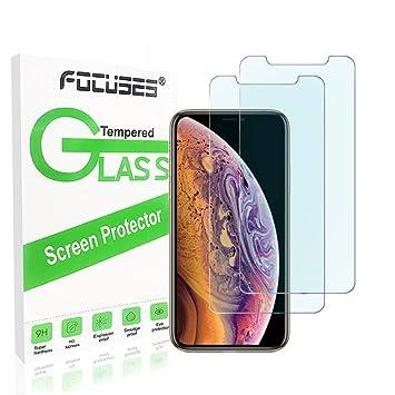 Focuses - Protector de Pantalla para iPhone XS MAX (2 Unidades), Color Azul: Amazon.es: Electrónica