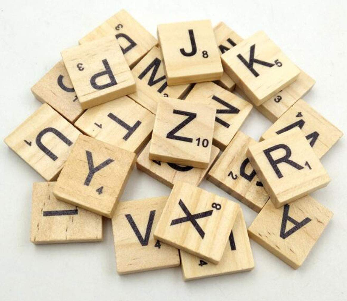 Wooden Alphabet Scrabble Tiles Letters Childrens Educational Toy for Board Games Wedding Frame Wall Art Replacement Crafts Jewellery Scrapbooking Pack of 100