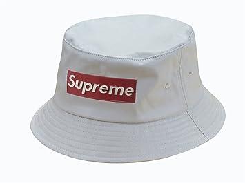 8222eda8add Supreme Iron Logo Bucket Hat (White)  Amazon.co.uk  Sports   Outdoors