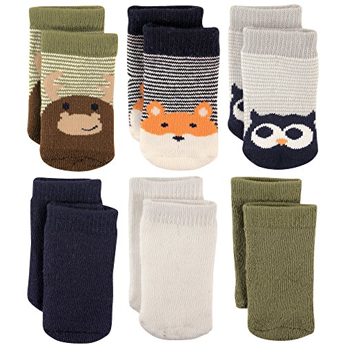 Luvable Friends Baby Basic Socks, 6 Pack, Moose, 0-6 Months
