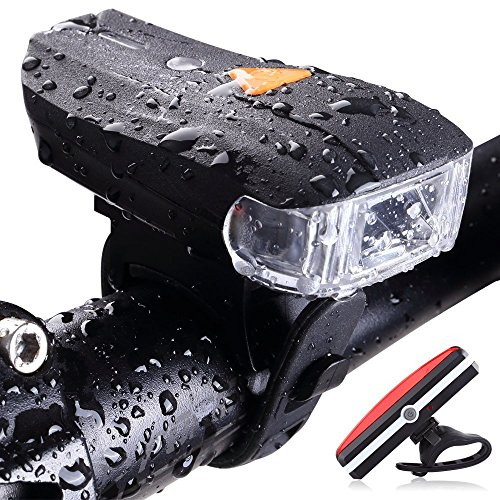 BESTSUN USB Rechargeable Bike Light Set, Smart Bicycle Headlight, Bike Front Lights Back Safety Flashlight, Bicycle Lights, IP65 Waterproof, with Free Tail Light for Kids Men Women Road Cycling