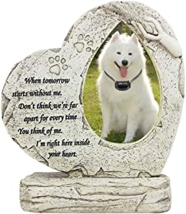 jinhuoba Paw Print Pet Memorial Stone, Heart Shaped Dog Memorial Stone with Wind Chime, Indoor Outdoor Pet Stone for Garden Backyard Decor - Loss of Pet Gift