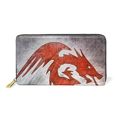 a05c7eecf5 Red Flying Dragon Leather Large Long Zipper Clutch Women Wallet ...