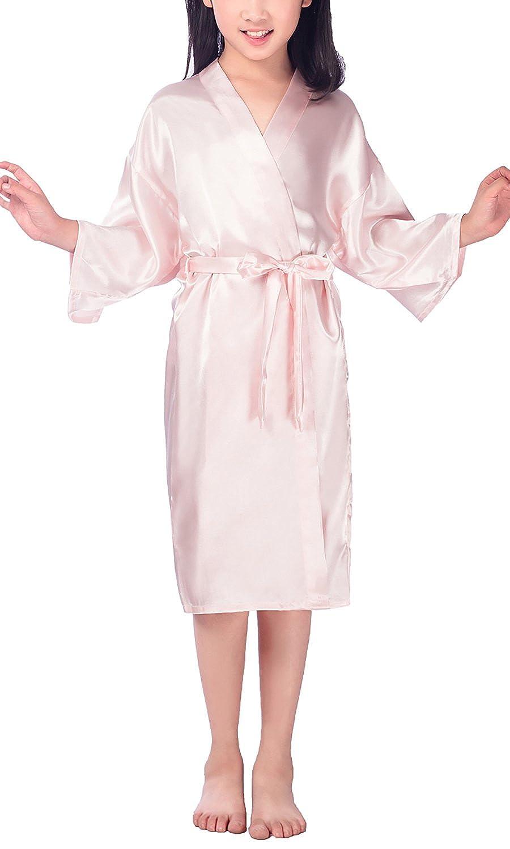 Filles Enfant Gar/çon Chemises de Nuit Couleur Pure Robe Peignoir en Satin Pyjamas Natation Anniversaire de Mariage Dolamen Kimono Robe Filles