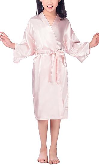 Dolamen Niños Niña Vestido Kimono Satén Camisón para Niña, Color puro Robe Albornoz Ropa de
